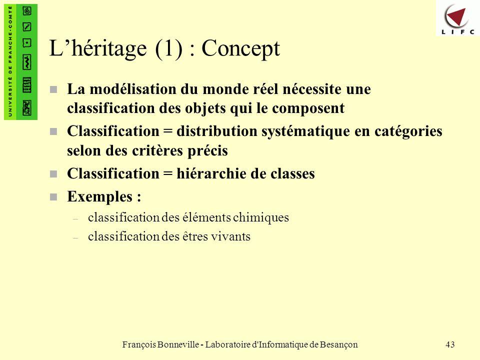 François Bonneville - Laboratoire d'Informatique de Besançon43 Lhéritage (1) : Concept n La modélisation du monde réel nécessite une classification de