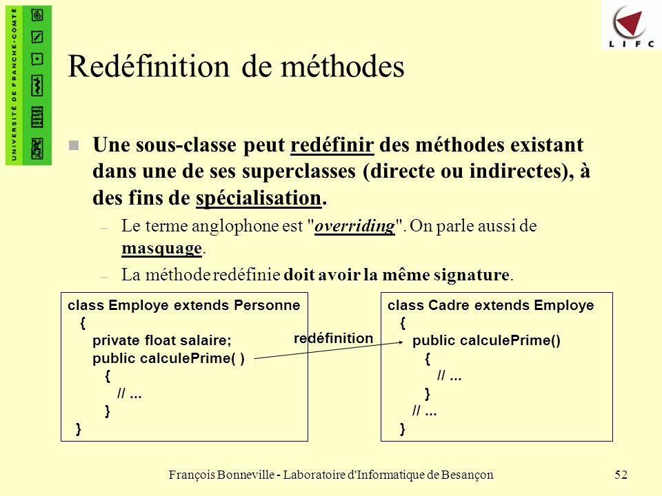 François Bonneville - Laboratoire d'Informatique de Besançon52 Redéfinition de méthodes n Une sous-classe peut redéfinir des méthodes existant dans un