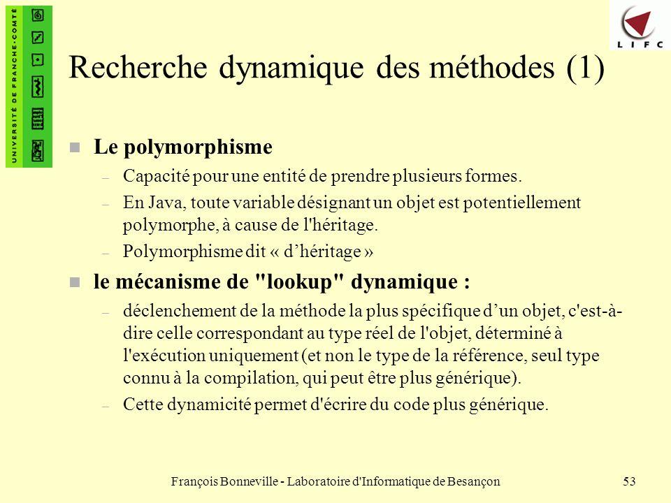 François Bonneville - Laboratoire d'Informatique de Besançon53 Recherche dynamique des méthodes (1) n Le polymorphisme – Capacité pour une entité de p