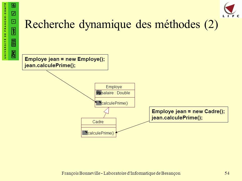François Bonneville - Laboratoire d'Informatique de Besançon54 Recherche dynamique des méthodes (2) Cadre calculePrime() Employe salaire : Double calc