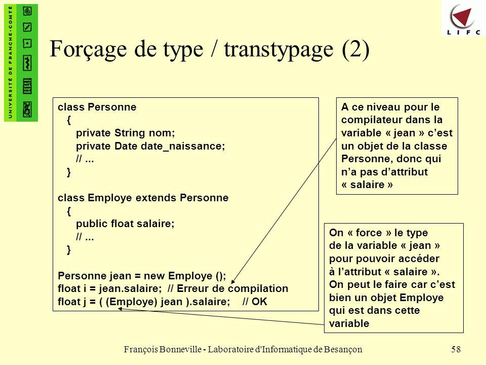 François Bonneville - Laboratoire d'Informatique de Besançon58 Forçage de type / transtypage (2) class Personne { private String nom; private Date dat