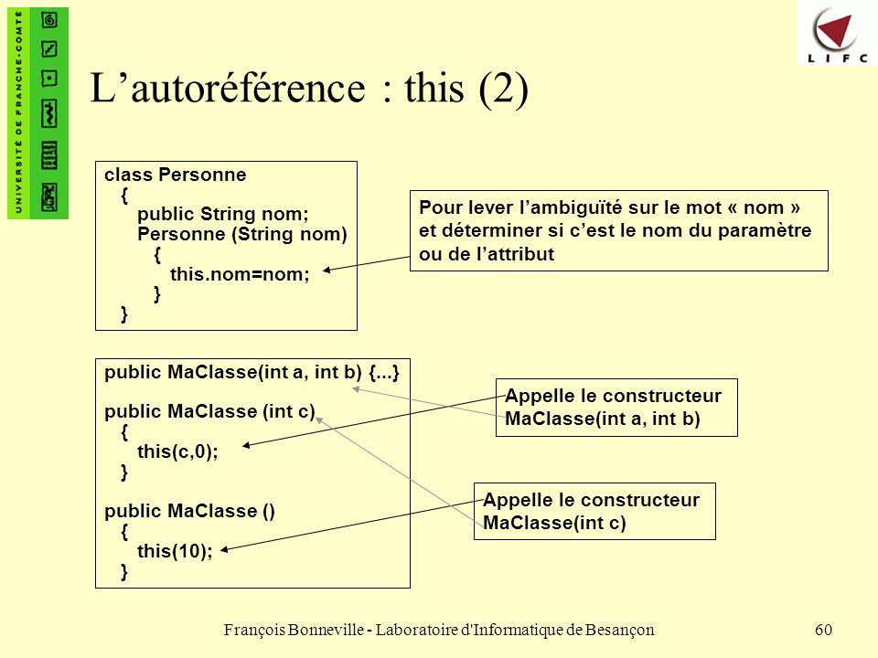 François Bonneville - Laboratoire d'Informatique de Besançon60 Lautoréférence : this (2) class Personne { public String nom; Personne (String nom) { t