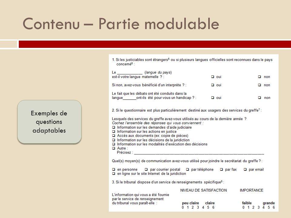 Contenu – Partie modulable Exemples de questions adaptables
