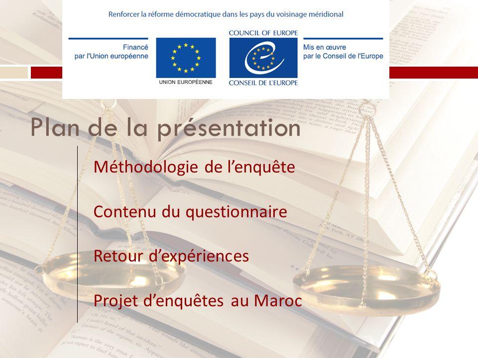 Plan de la présentation Méthodologie de lenquête Contenu du questionnaire Retour dexpériences Projet denquêtes au Maroc