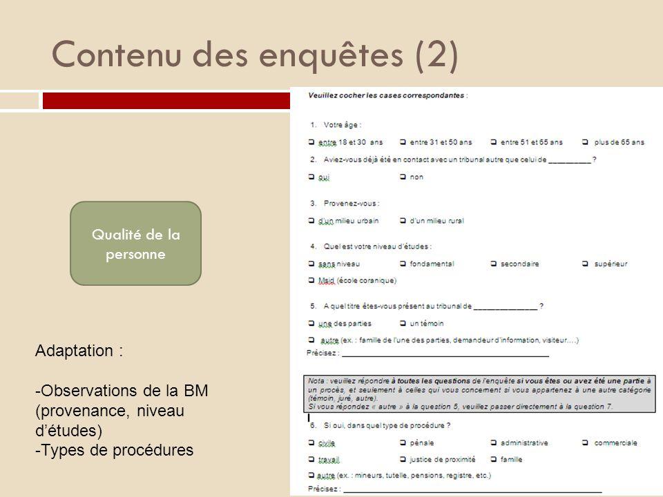 Contenu des enquêtes (2) Qualité de la personne Adaptation : -Observations de la BM (provenance, niveau détudes) -Types de procédures
