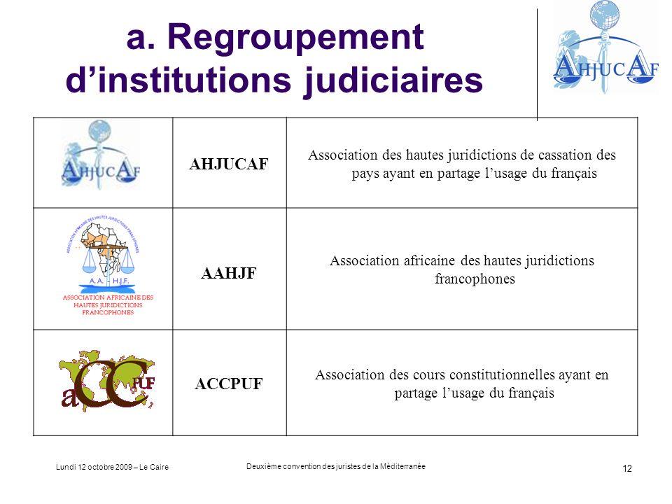 Lundi 12 octobre 2009 – Le Caire Deuxième convention des juristes de la Méditerranée 12 a.
