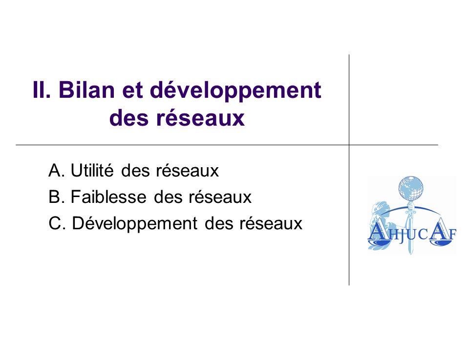 II. Bilan et développement des réseaux A. Utilité des réseaux B.