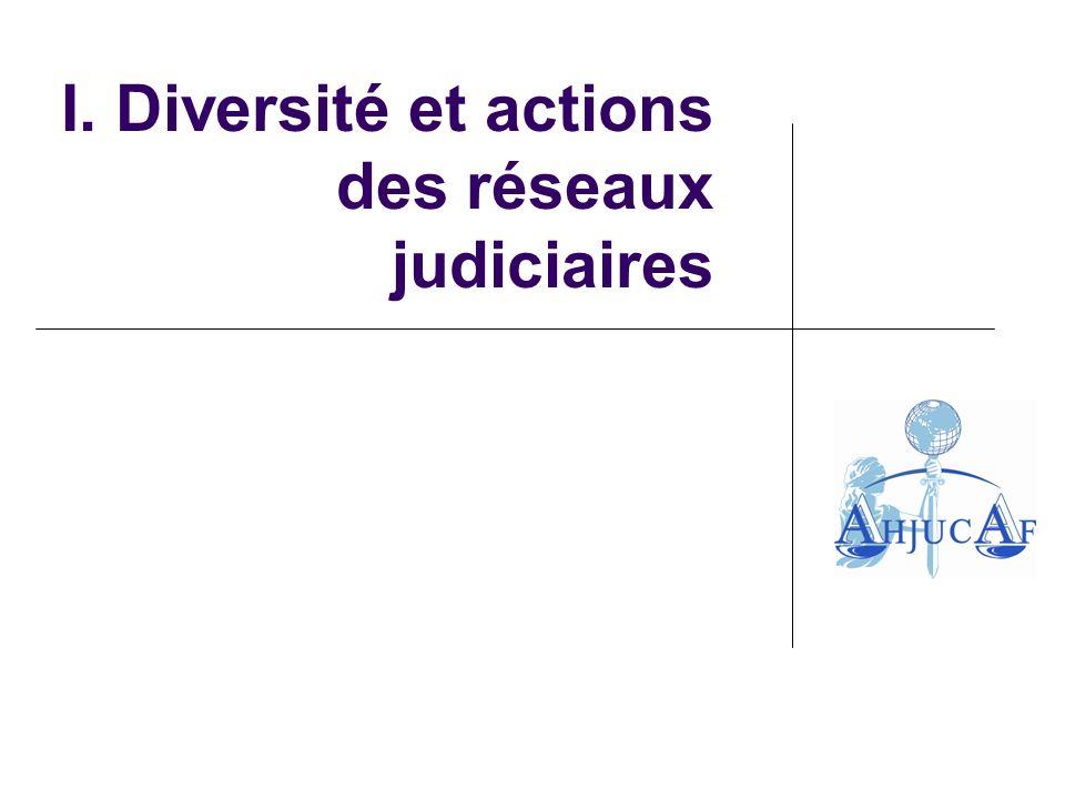 I. Diversité et actions des réseaux judiciaires