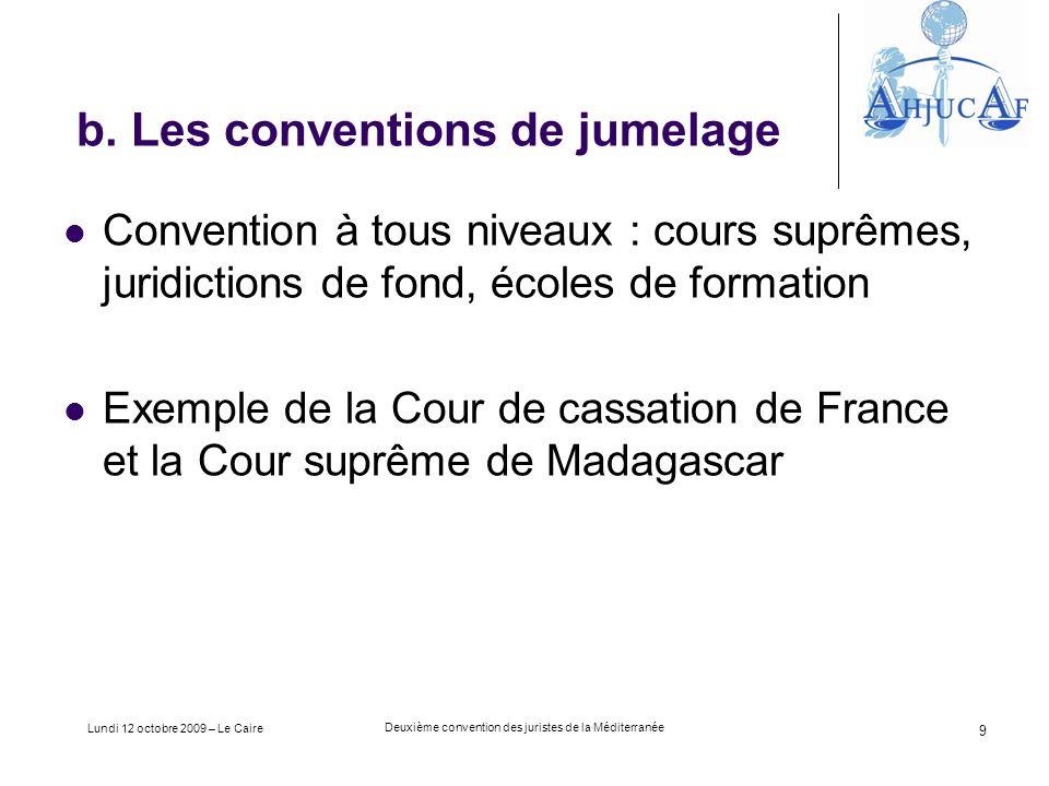 Lundi 12 octobre 2009 – Le Caire Deuxième convention des juristes de la Méditerranée 9 b.