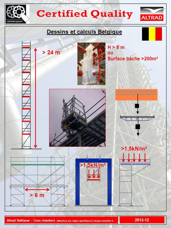 Dessins et calculs Belgique 2013-12 > 24 m >1,5kN/m² > 6 m >1,5kN/m² H > 8 m ou Surface bâche >200m ² Altrad Balliauw – Tous chantiers (Attention aux