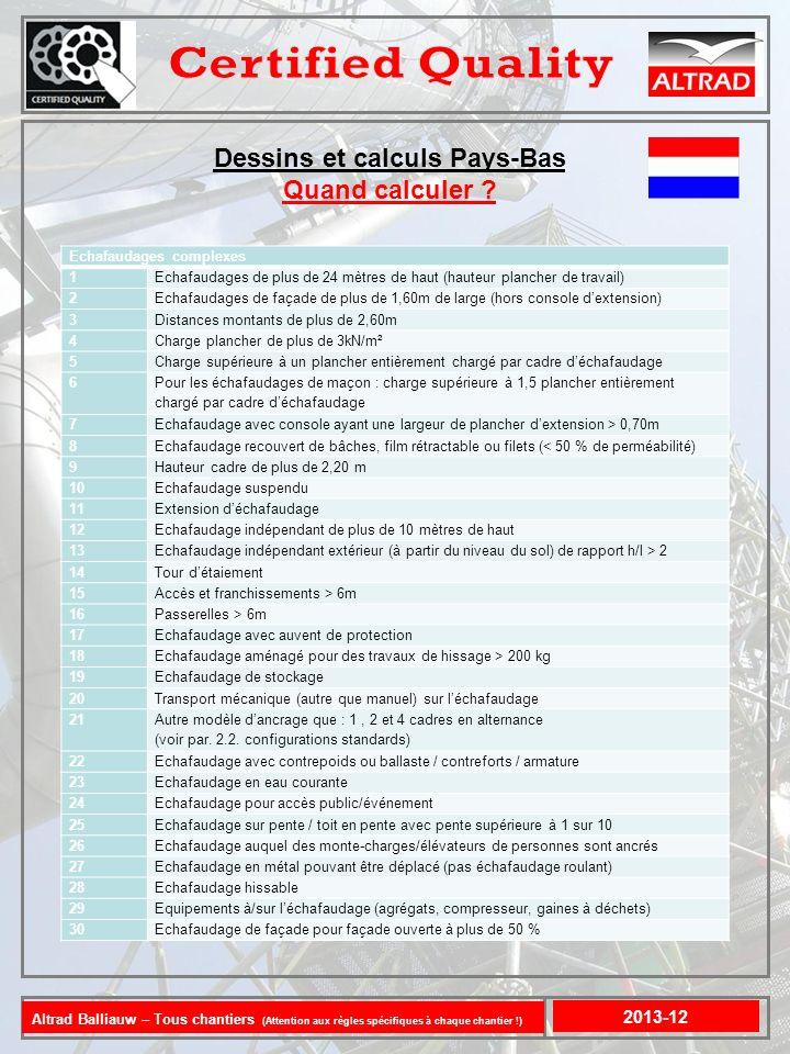 Dessins et calculs Pays-Bas 2013-12 >24 m Vrijstaand : >10m > 3 kN/m² > 6 m >2,6 m >2,2 m >0,7 m > 200 kg Altrad Balliauw – Tous chantiers (Attention aux règles spécifiques à chaque chantier !)