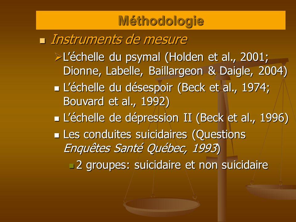 Méthodologie Instruments de mesure Instruments de mesure Léchelle du psymal (Holden et al., 2001; Dionne, Labelle, Baillargeon & Daigle, 2004) Léchell