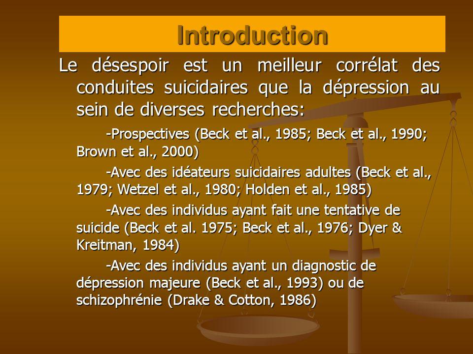 Le désespoir est un meilleur corrélat des conduites suicidaires que la dépression au sein de diverses recherches: -Prospectives (Beck et al., 1985; Be