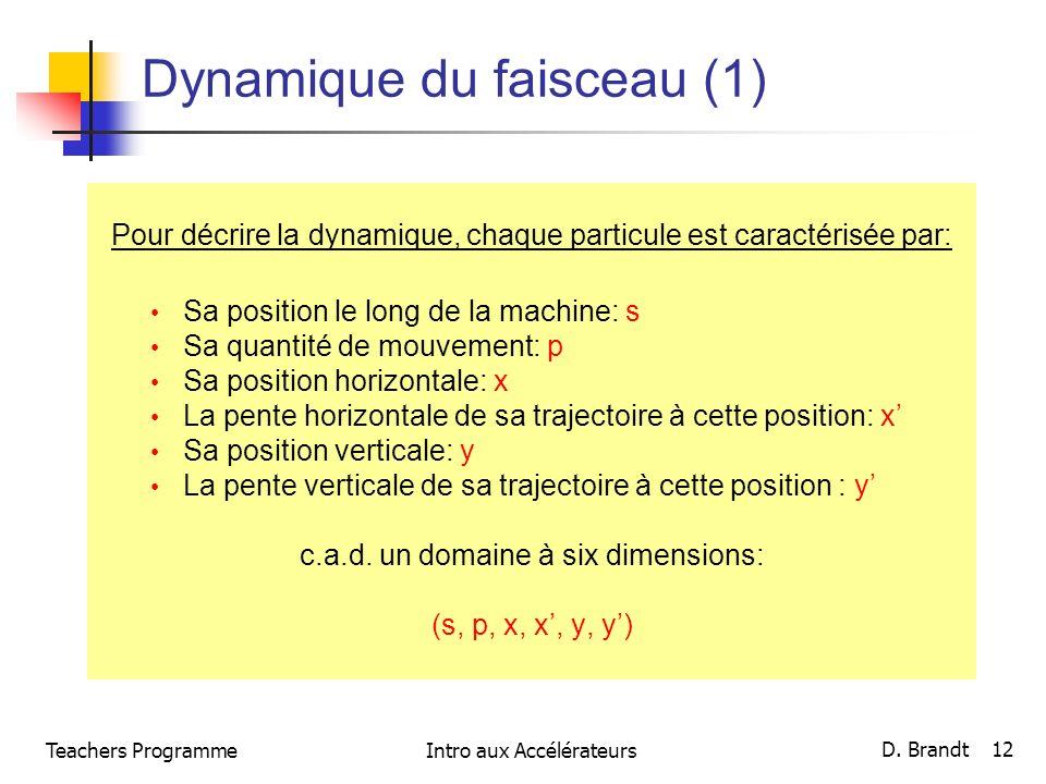 Teachers ProgrammeIntro aux Accélérateurs D. Brandt 12 Dynamique du faisceau (1) Pour décrire la dynamique, chaque particule est caractérisée par: Sa