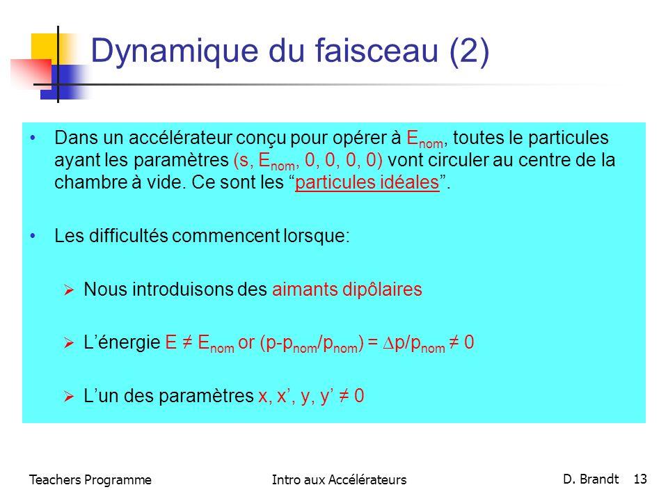 Teachers ProgrammeIntro aux Accélérateurs D. Brandt 13 Dynamique du faisceau (2) Dans un accélérateur conçu pour opérer à E nom, toutes le particules