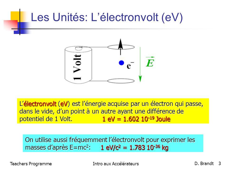Les Unités: Lélectronvolt (eV) Lélectronvolt (eV) est lénergie acquise par un électron qui passe, dans le vide, dun point à un autre ayant une différence de potentiel de 1 Volt.