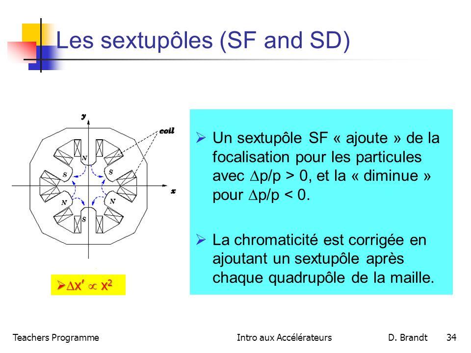 Teachers ProgrammeIntro aux AccélérateursD. Brandt 34 Les sextupôles (SF and SD) Un sextupôle SF « ajoute » de la focalisation pour les particules ave