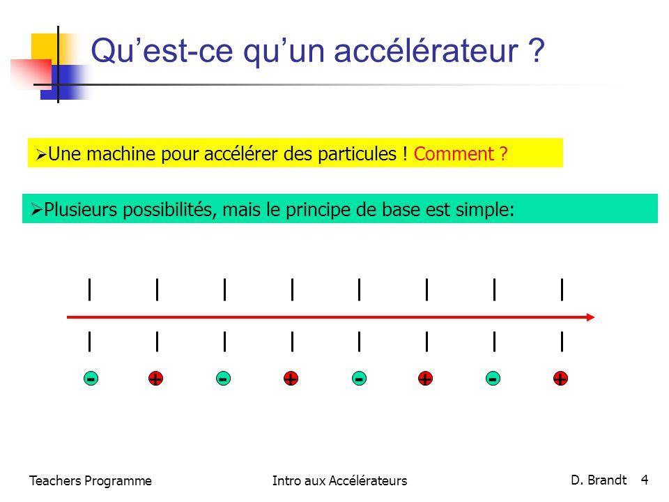 Teachers ProgrammeIntro aux Accélérateurs D. Brandt 4 Quest-ce quun accélérateur ? Une machine pour accélérer des particules ! Comment ? Plusieurs pos