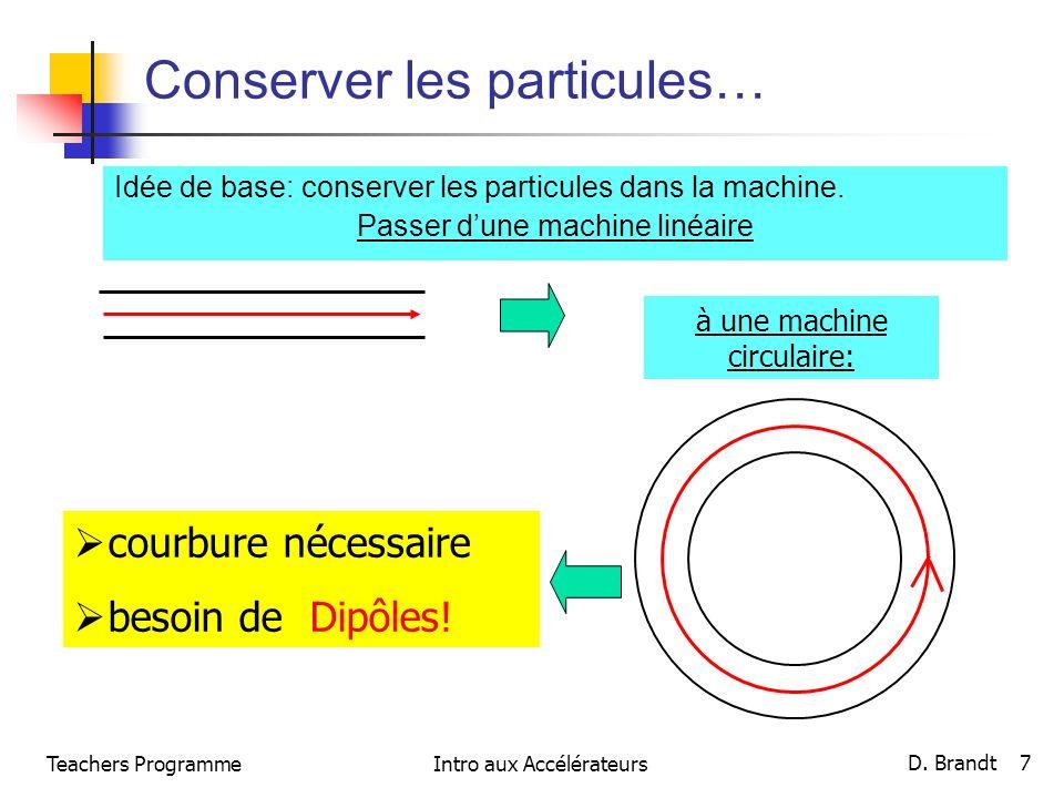 Teachers ProgrammeIntro aux Accélérateurs D. Brandt 7 Conserver les particules… Idée de base: conserver les particules dans la machine. Passer dune ma