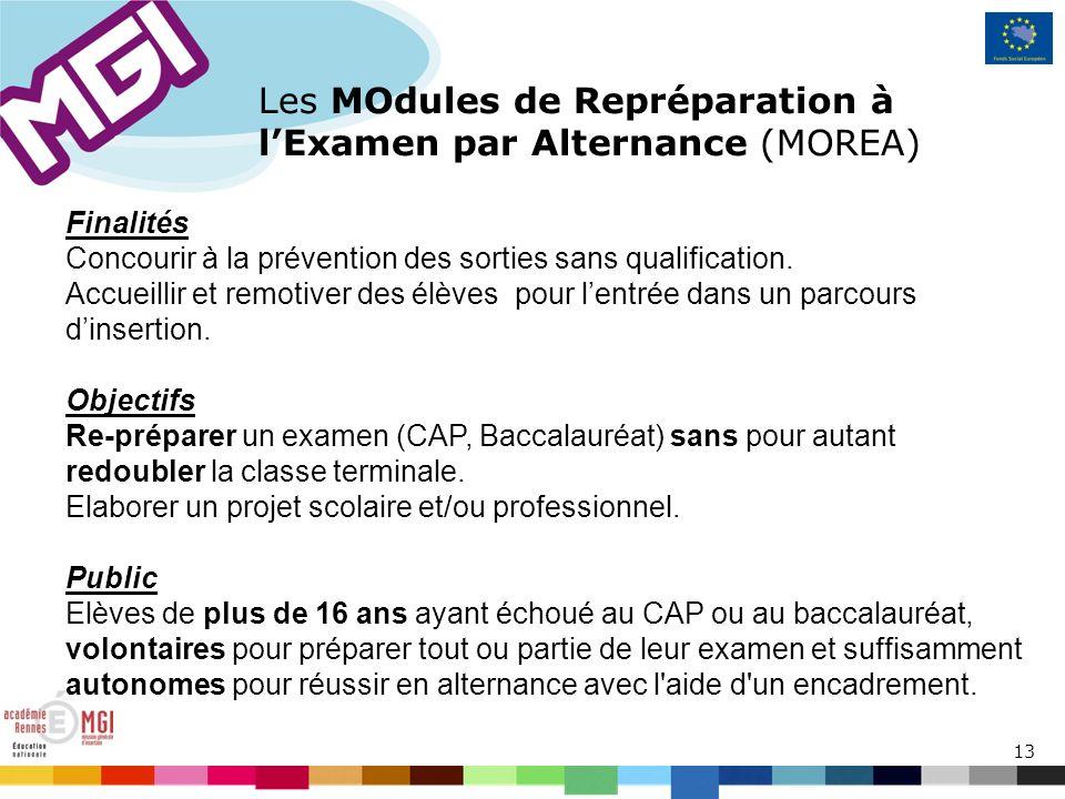 13 Les MOdules de Repréparation à lExamen par Alternance (MOREA) Finalités Concourir à la prévention des sorties sans qualification.