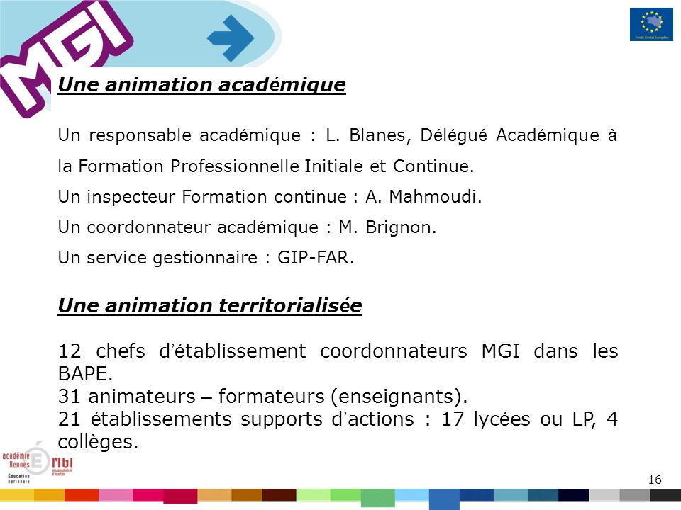 16 Une animation acad é mique Un responsable acad é mique : L.