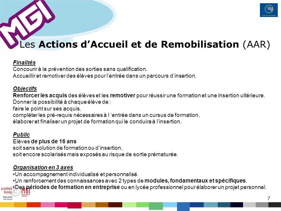 7 Les Actions dAccueil et de Remobilisation (AAR) Finalités Concourir à la prévention des sorties sans qualification.