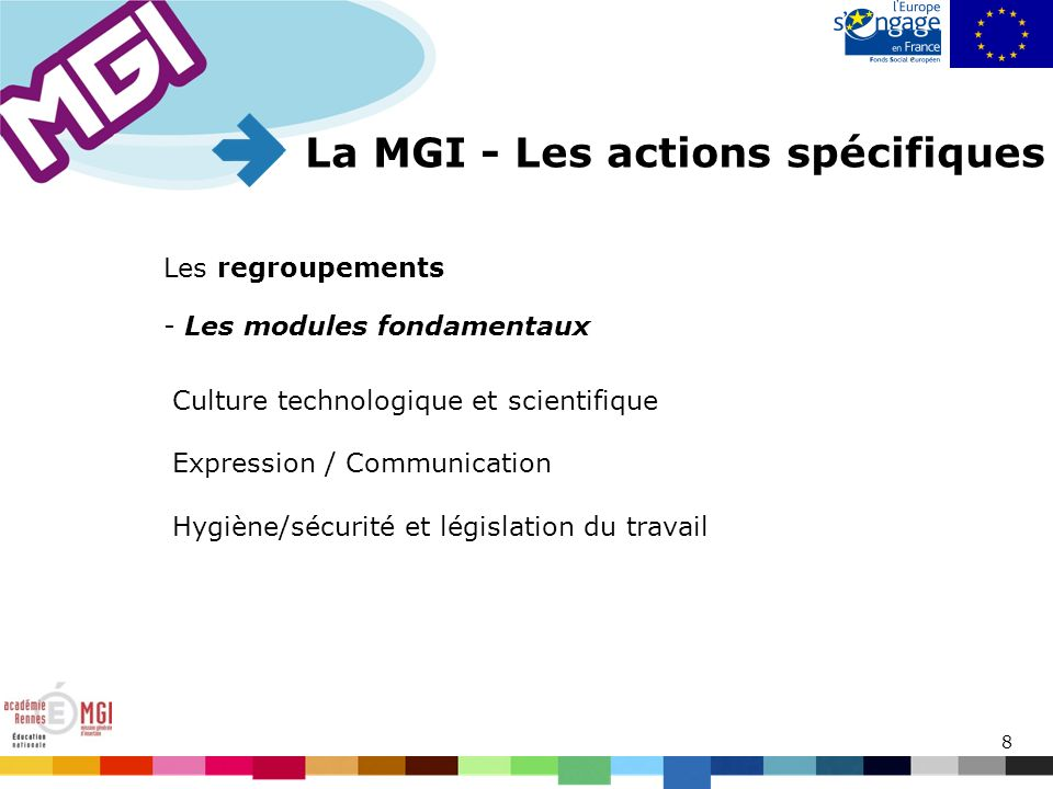 8 Les regroupements La MGI - Les actions spécifiques Culture technologique et scientifique Expression / Communication Hygiène/sécurité et législation du travail - Les modules fondamentaux