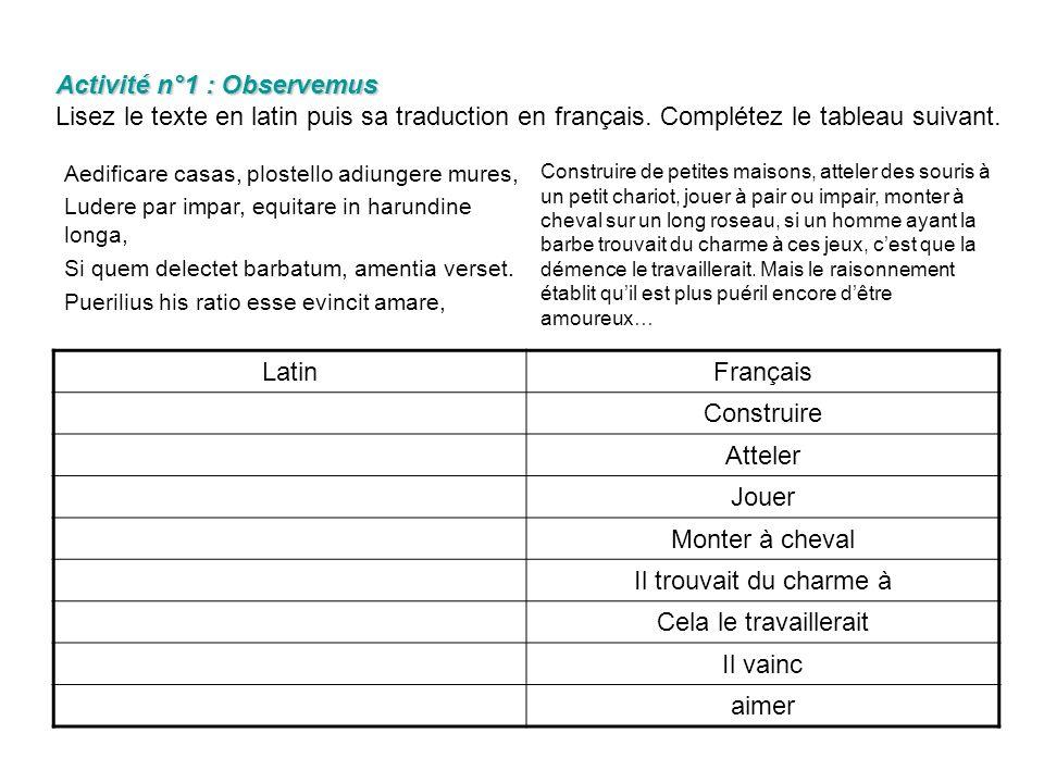 Activité n°1 : Observemus Activité n°1 : Observemus Lisez le texte en latin puis sa traduction en français.