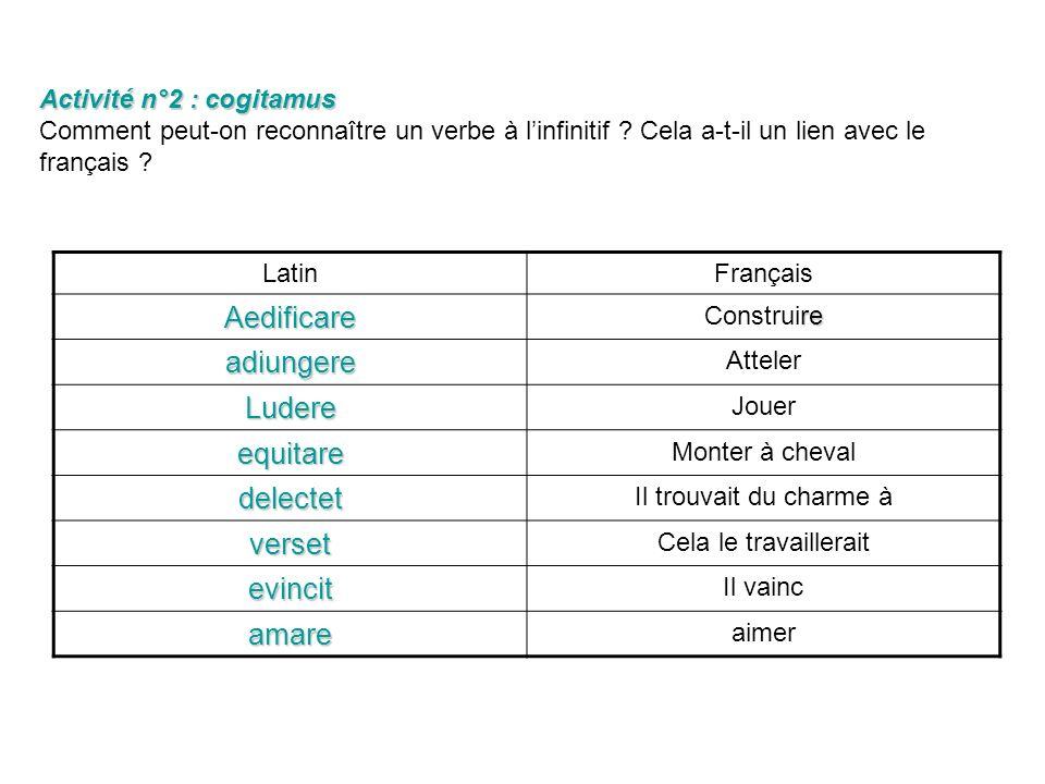 Activité n°1 : Observemus Activité n°1 : Observemus Lisez le texte en latin puis sa traduction en français. Complétez le tableau suivant. Aedificare c