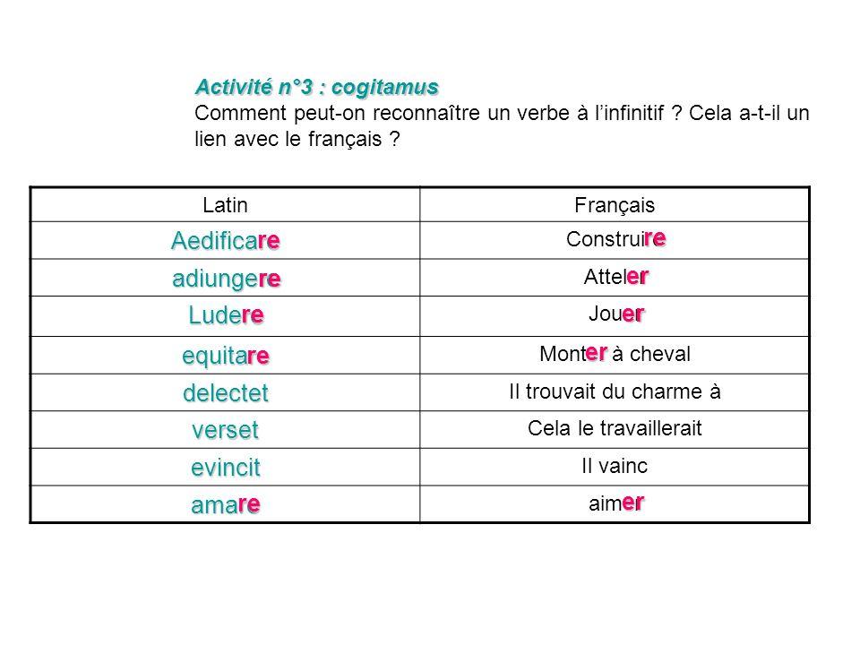 Activité n°2 : cogitamus Activité n°2 : cogitamus Comment peut-on reconnaître un verbe à linfinitif ? Cela a-t-il un lien avec le français ? LatinFran