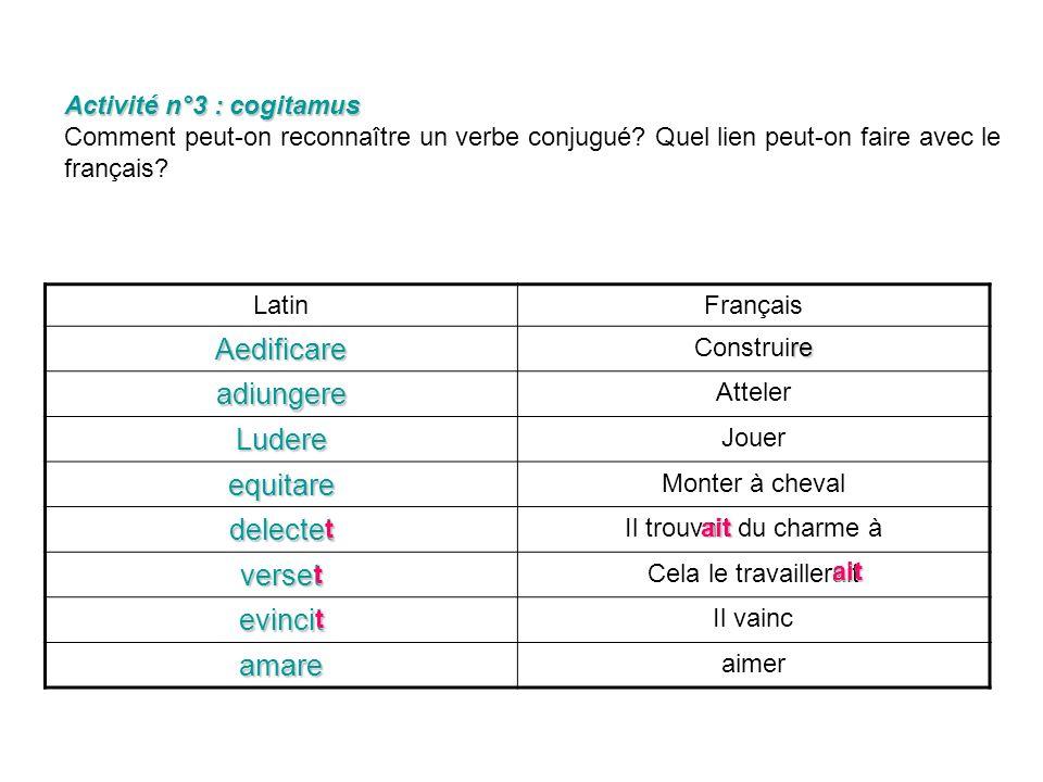 Activité n°3 : cogitamus Activité n°3 : cogitamus Comment peut-on reconnaître un verbe conjugué.