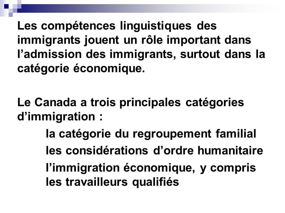 Les compétences linguistiques des immigrants jouent un rôle important dans ladmission des immigrants, surtout dans la catégorie économique. Le Canada