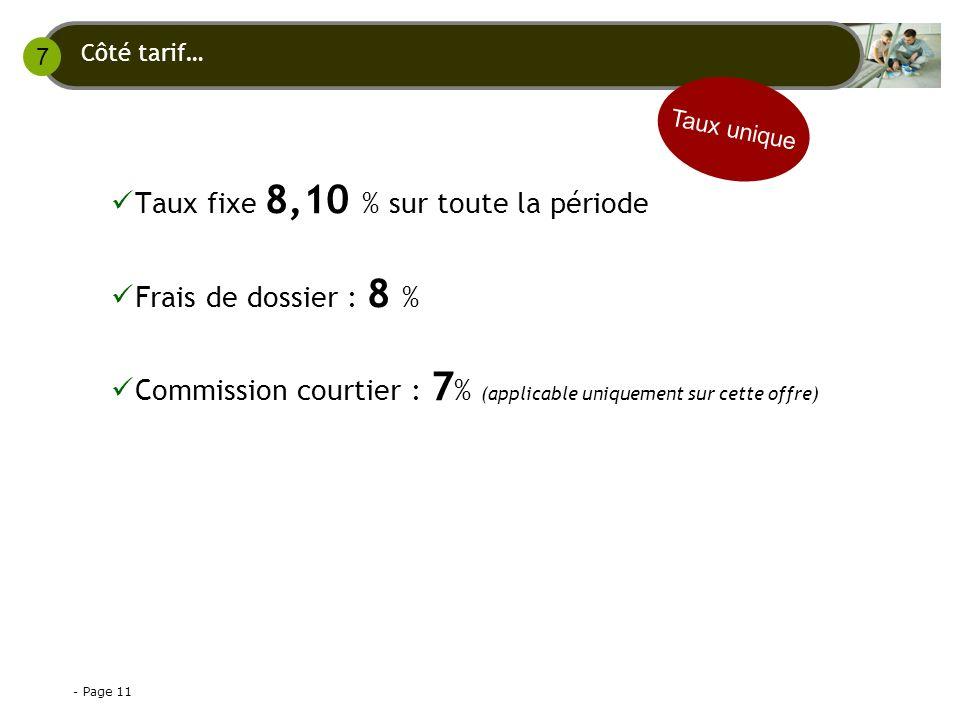 - Page 11 Taux fixe 8,10 % sur toute la période Frais de dossier : 8 % Commission courtier : 7 % (applicable uniquement sur cette offre) Côté tarif… Taux unique 7