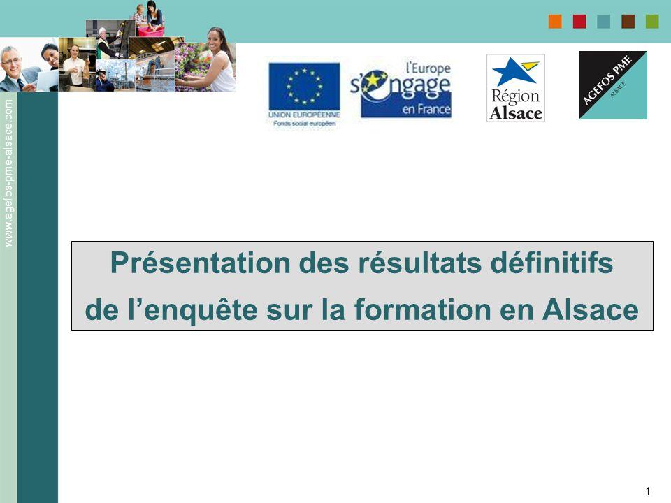 www.agefos-pme-alsace.com 1 Présentation des résultats définitifs de lenquête sur la formation en Alsace