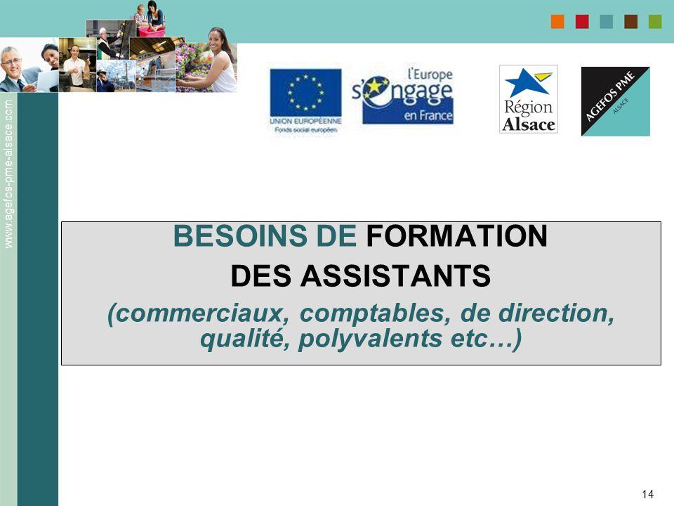 www.agefos-pme-alsace.com 14 BESOINS DE FORMATION DES ASSISTANTS (commerciaux, comptables, de direction, qualité, polyvalents etc…)