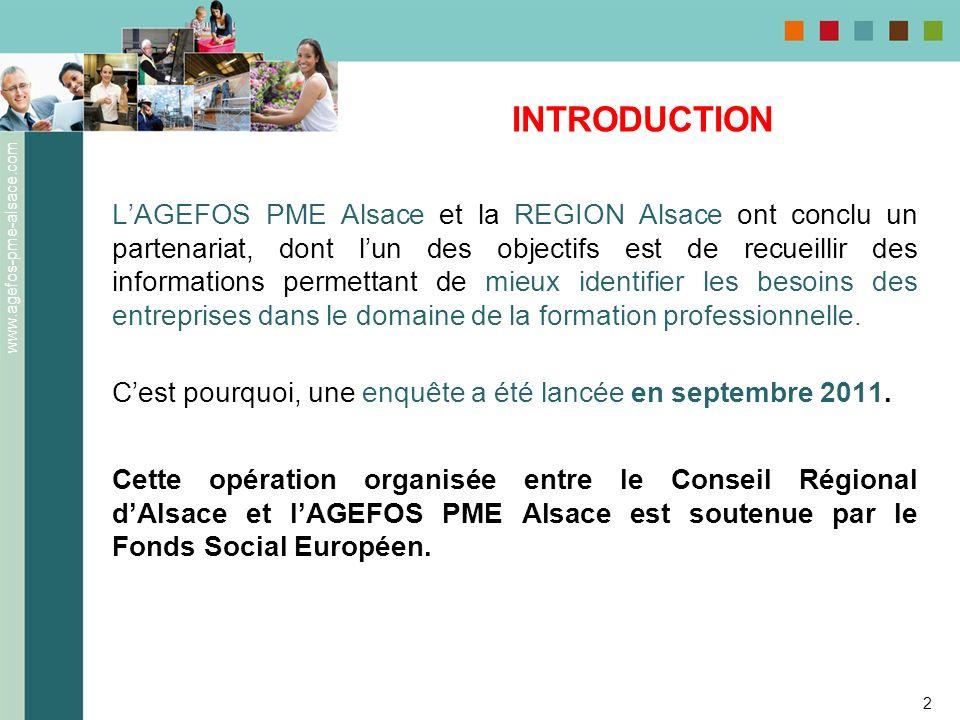 www.agefos-pme-alsace.com 2 INTRODUCTION LAGEFOS PME Alsace et la REGION Alsace ont conclu un partenariat, dont lun des objectifs est de recueillir de
