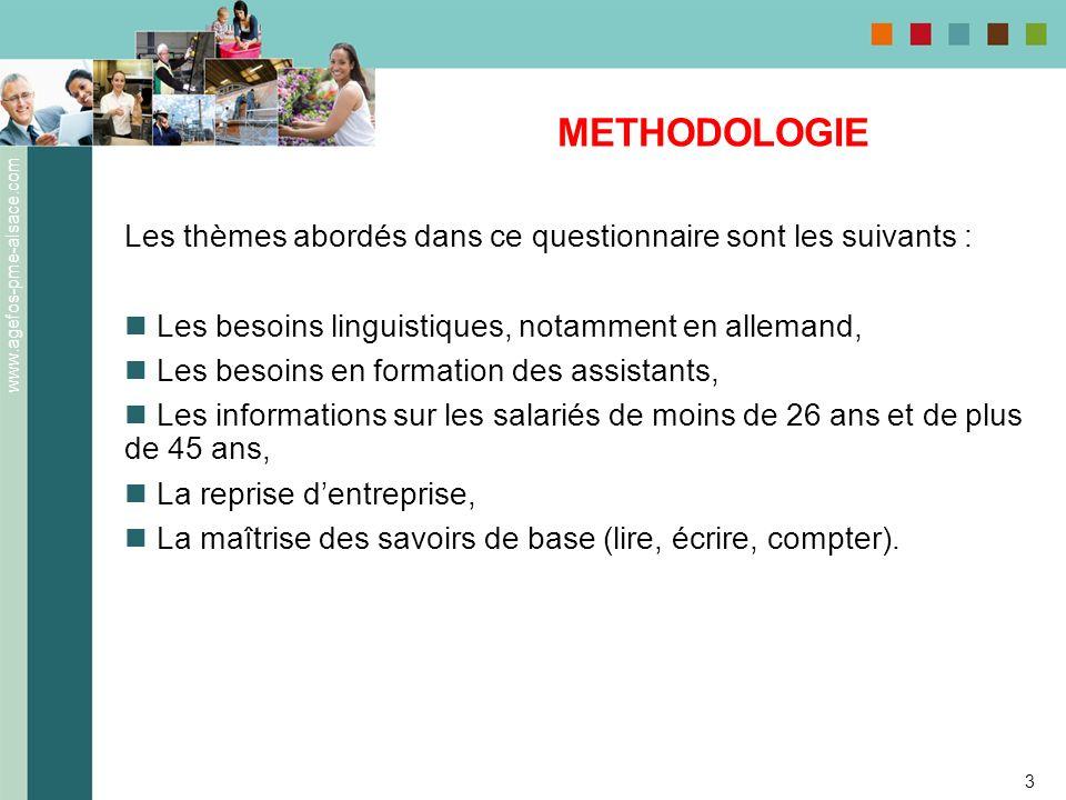 www.agefos-pme-alsace.com 3 METHODOLOGIE Les thèmes abordés dans ce questionnaire sont les suivants : Les besoins linguistiques, notamment en allemand