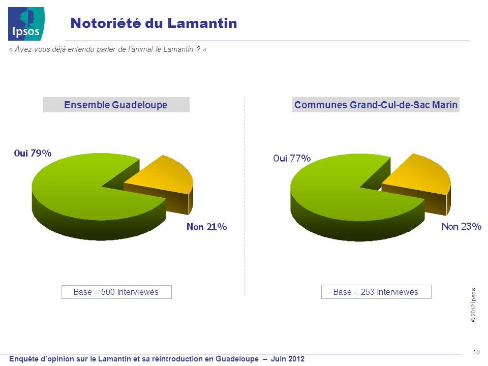 © 2012 Ipsos Enquête dopinion sur le Lamantin et sa réintroduction en Guadeloupe – Juin 2012 10 Notoriété du Lamantin « Avez-vous déjà entendu parler