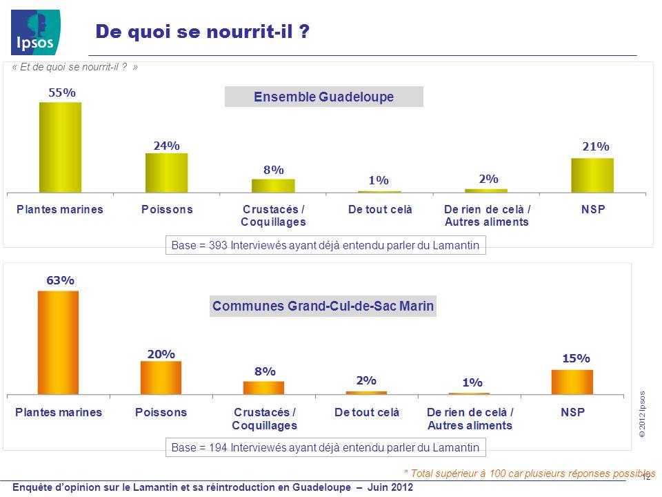 © 2012 Ipsos Enquête dopinion sur le Lamantin et sa réintroduction en Guadeloupe – Juin 2012 12 De quoi se nourrit-il ? Ensemble Guadeloupe Base = 393