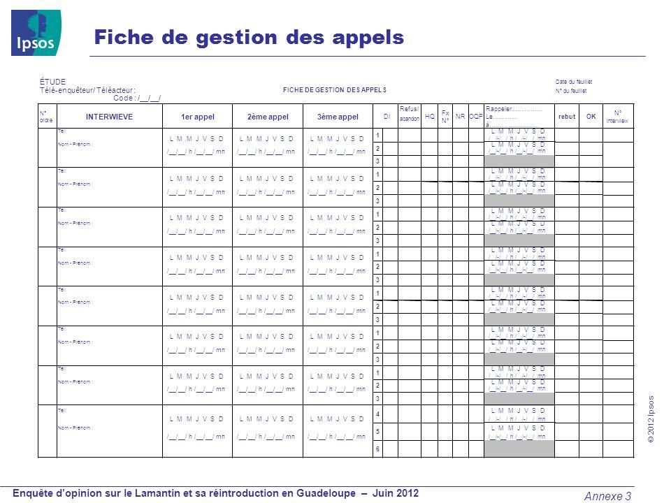 © 2012 Ipsos Enquête dopinion sur le Lamantin et sa réintroduction en Guadeloupe – Juin 2012 ÉTUDE Date du feuillet Télé-enquêteur/ Téléacteur : FICHE
