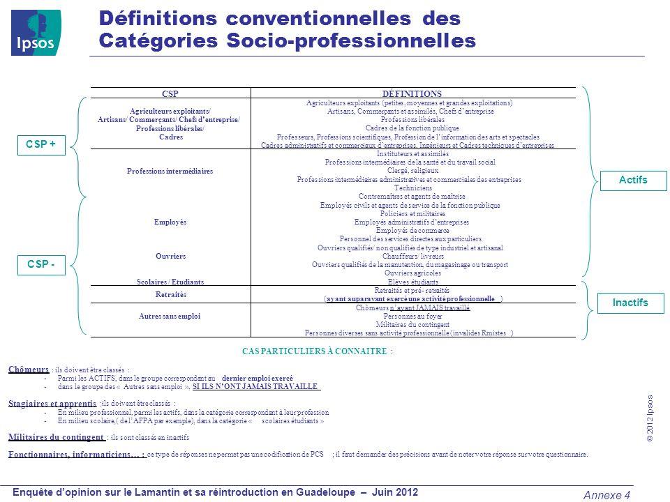 © 2012 Ipsos Enquête dopinion sur le Lamantin et sa réintroduction en Guadeloupe – Juin 2012 Définitions conventionnelles des Catégories Socio-profess
