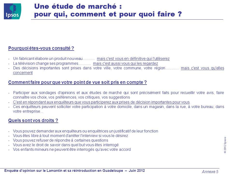 © 2012 Ipsos Enquête dopinion sur le Lamantin et sa réintroduction en Guadeloupe – Juin 2012 Une étude de marché : pour qui, comment et pour quoi fair