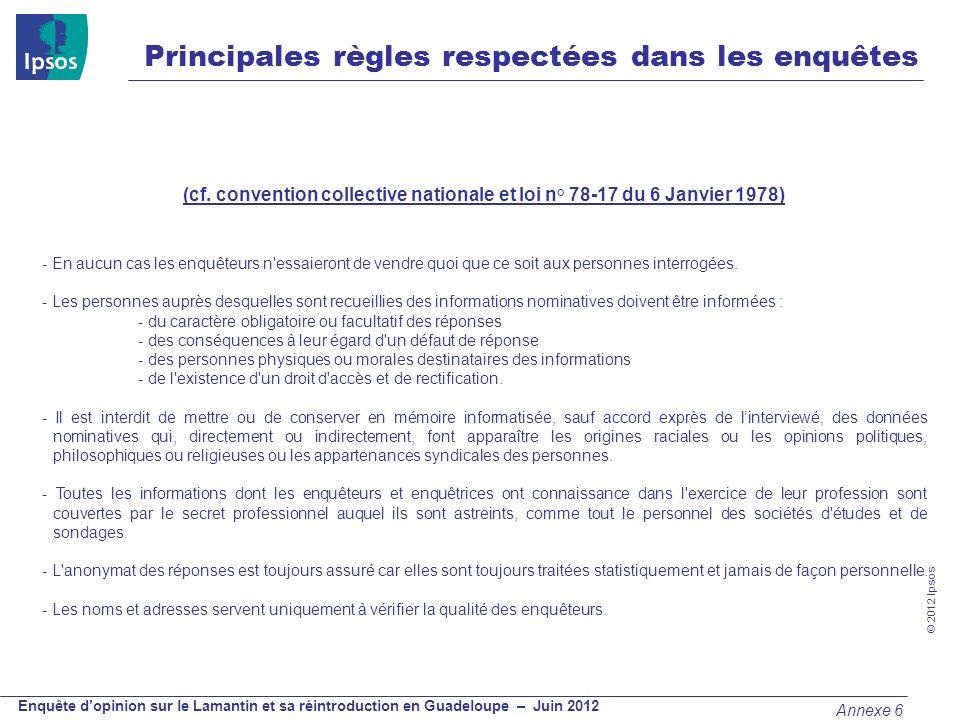 © 2012 Ipsos Enquête dopinion sur le Lamantin et sa réintroduction en Guadeloupe – Juin 2012 Principales règles respectées dans les enquêtes (cf. conv