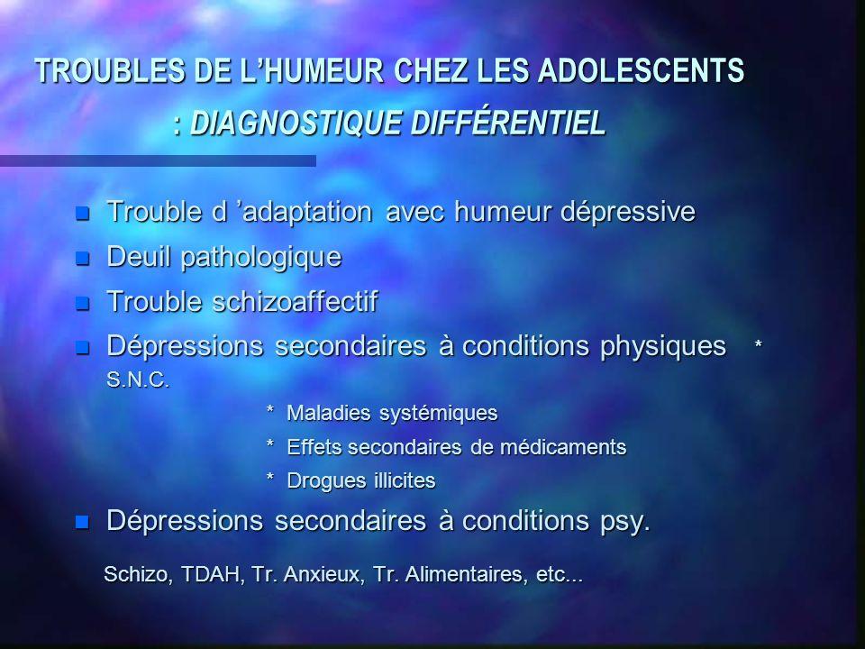 TROUBLES DE LHUMEUR CHEZ LES ADOLESCENTS : DIAGNOSTIQUE DIFFÉRENTIEL n Trouble d adaptation avec humeur dépressive n Deuil pathologique n Trouble schi