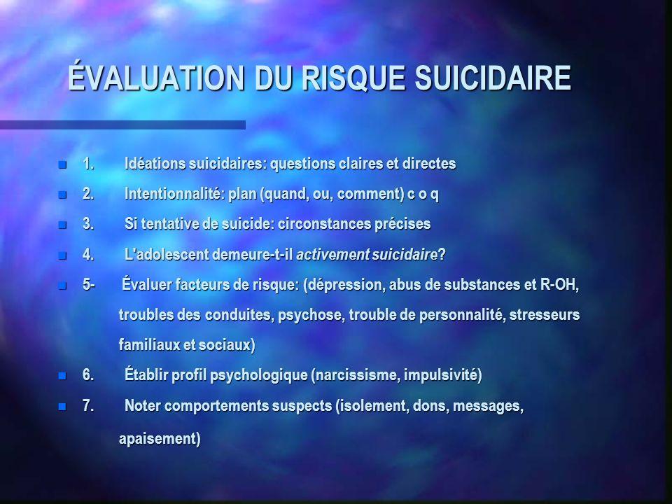 ÉVALUATION DU RISQUE SUICIDAIRE n 1.Idéations suicidaires: questions claires et directes n 2.Intentionnalité: plan (quand, ou, comment) c o q n 3.Si t