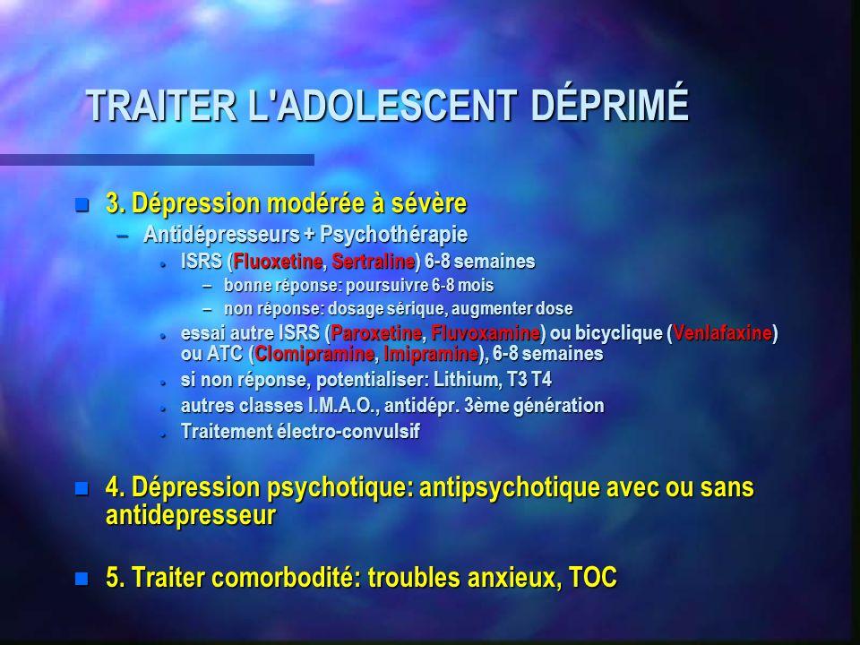 TRAITER L'ADOLESCENT DÉPRIMÉ n 3. Dépression modérée à sévère – Antidépresseurs + Psychothérapie ISRS (Fluoxetine, Sertraline) 6-8 semaines ISRS (Fluo