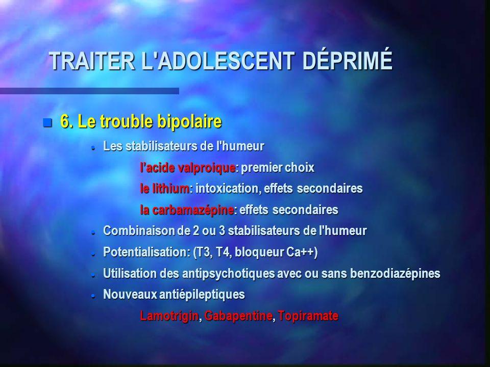 TRAITER L'ADOLESCENT DÉPRIMÉ n 6. Le trouble bipolaire Les stabilisateurs de l'humeur Les stabilisateurs de l'humeur lacide valproique: premier choix