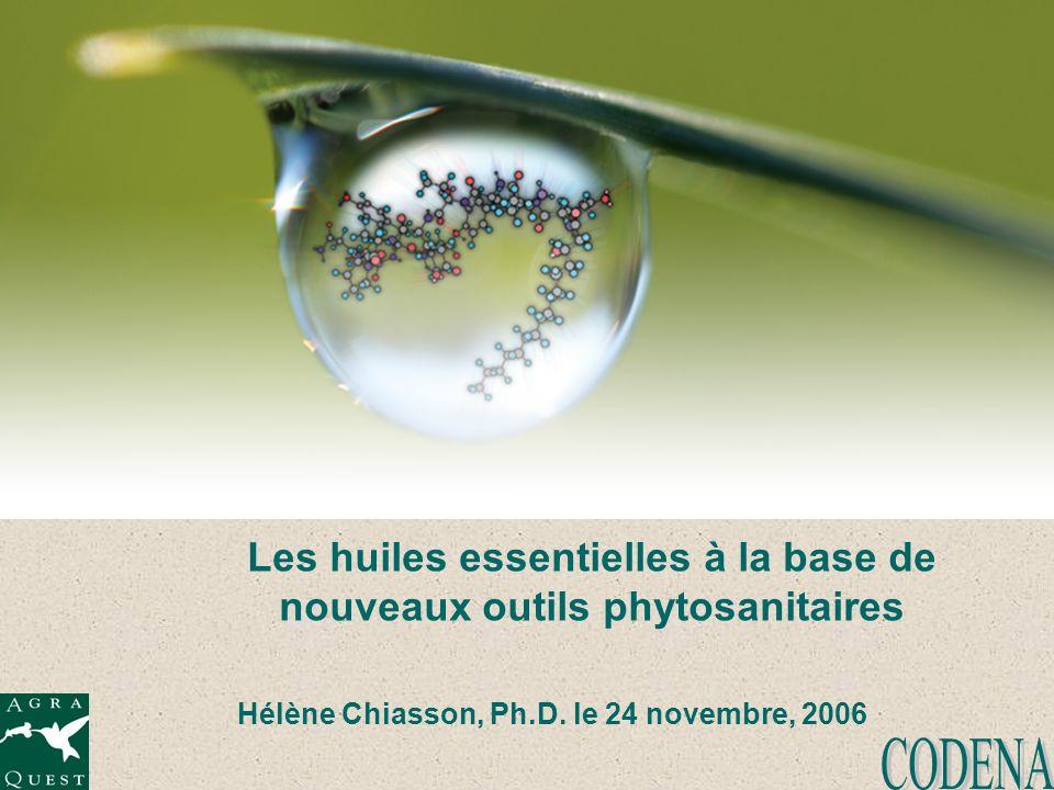 Les huiles essentielles à la base de nouveaux outils phytosanitaires Hélène Chiasson, Ph.D. le 24 novembre, 2006