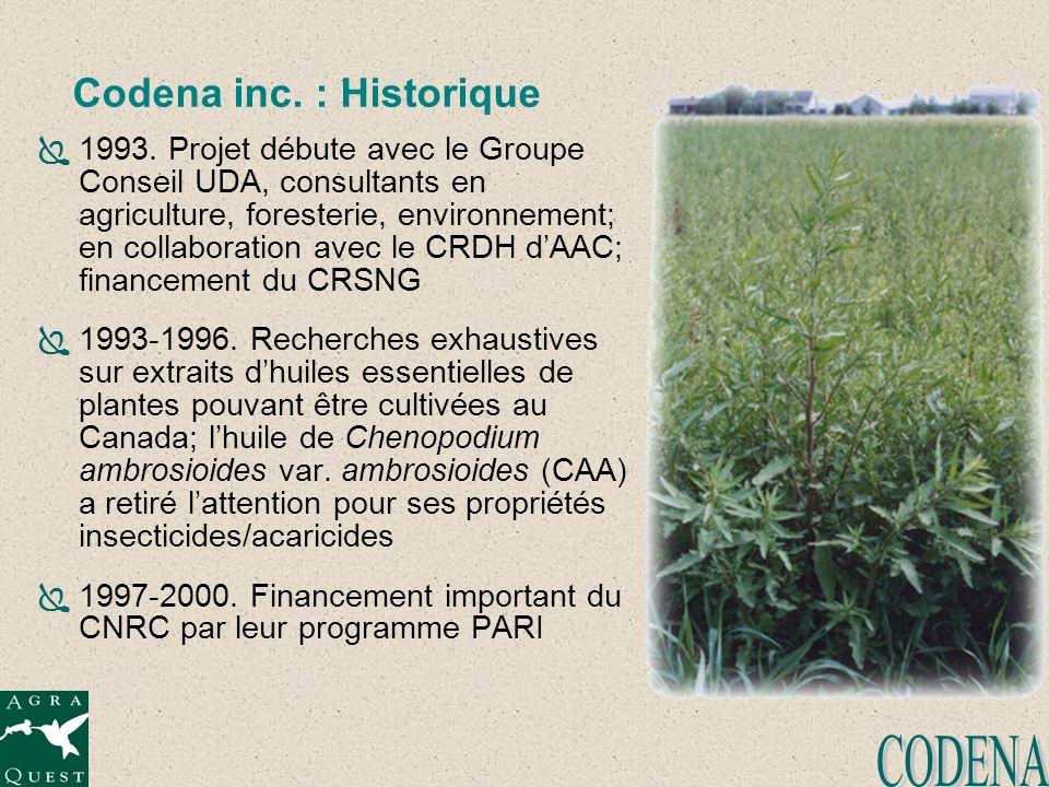 Codena inc. : Historique 1993. Projet débute avec le Groupe Conseil UDA, consultants en agriculture, foresterie, environnement; en collaboration avec