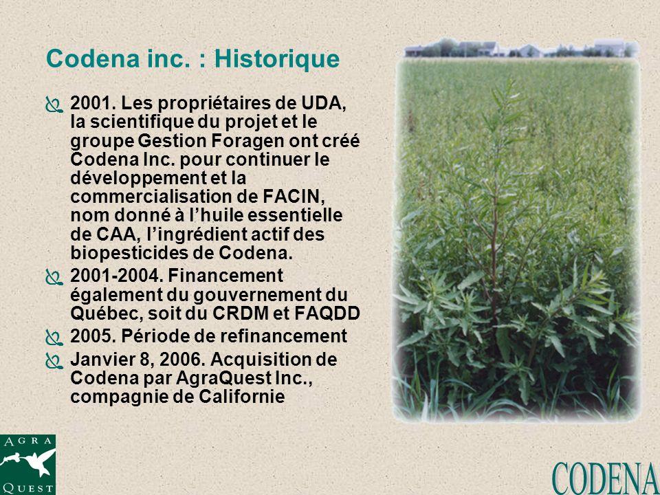 Codena inc. : Historique 2001. Les propriétaires de UDA, la scientifique du projet et le groupe Gestion Foragen ont créé Codena Inc. pour continuer le